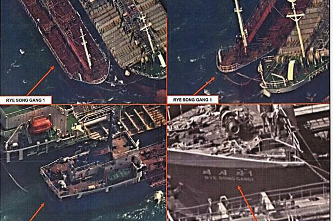 Satellite photos of Chinese Ships transferring oil to North Korean Ships