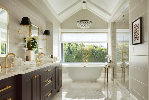A chandelier can add pizazz to bathroom decor