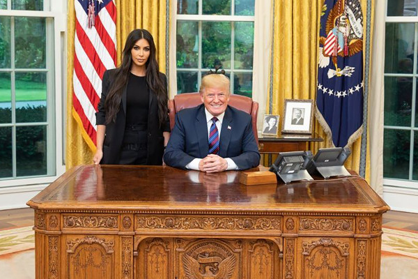 Kim Kardashian and President Trump at the White House